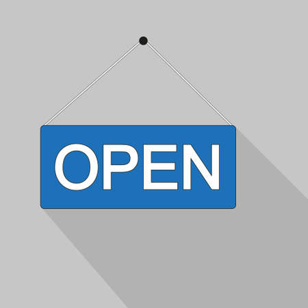 The label on the door is open. Graphic icon on the store door. Signboard for office, cafe, retail market. Information label or label for the supermarket in retro style. Vector illustration