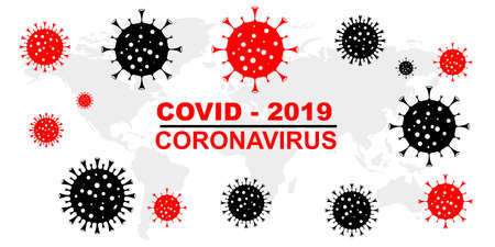 COVID 19 on the world map. Dangerous virus dash illustration. Pictograph of concept isolated on white background. Illustration of dangerous virus icon. Stay at home. Vector illustration