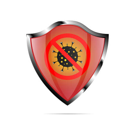 Stop the coronavirus. COVID-19. Red shield with virus and red circle. Stop the coronavirus outbreak. Isolated for design and internet. Vector illustration