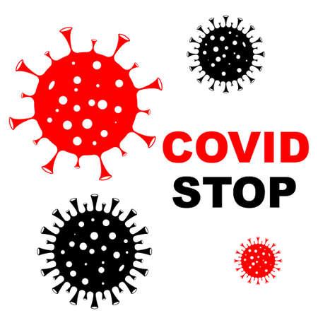 Stop the coronavirus. Coronavirus pandemic, epidemic control. Stop the coronavirus outbreak. Isolated for design and internet. COVID19 coronavirus. Vector illustration