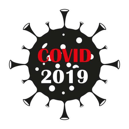 Dangerous virus icon illustration. Crown virus warning sign  concept isolated on white background. COVID 19. Illustration of a dangerous virus icon. Pandemic. Vector illustration