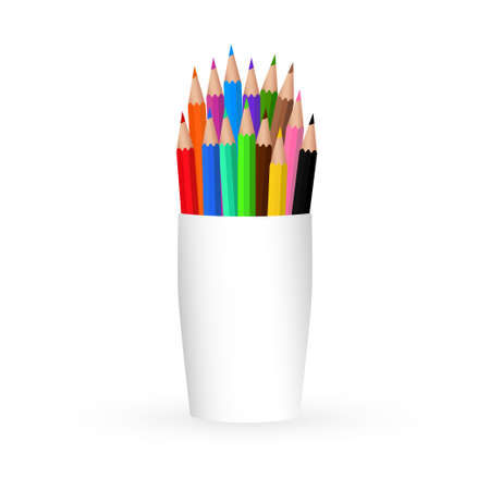 Plastic cup with a set of colored pencils. Close up isolated on white background. Design template, icon, clipart or layout for graphics - web, application. Front view. Vector illustration
