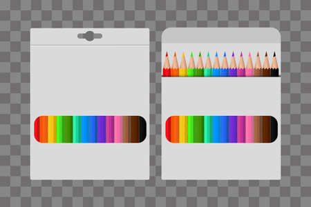 Colored pencil in a white package. Template design, clipart or layout for graphics. Subjects of children's and school education. Rainbow pencils in a package with a window. Vector illustration