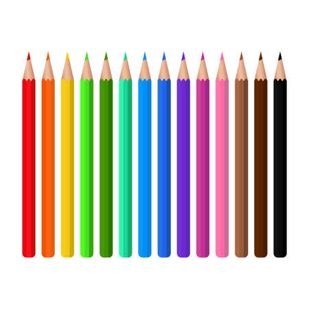 Colored pencils Design template, clipart or layout for graphics. Subjects of children's and school education. Rainbow pencils in a package with a window. Vector illustration
