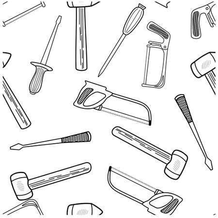Seamless pattern with hand drawn working tools. Collection of hand tools. Handmade cartoon made of various sketch elements: hammer, saw, screwdriver. On a white background. Vector illustration
