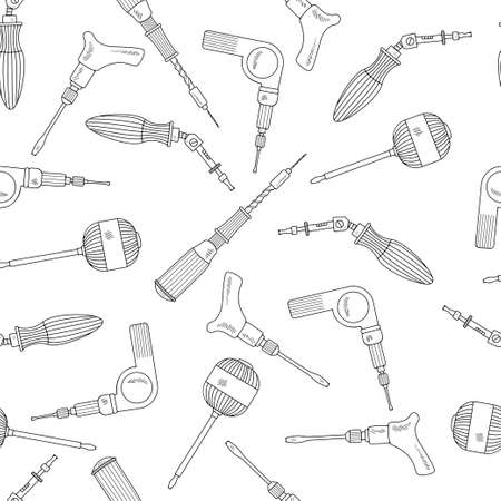 Seamless pattern with hand drawn work tools. Collection of handmade cartoon tools with various sketch elements of a mechanical screwdriver. On a white background. Vector illustration