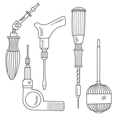 Hand tools collection. Handmade cartoon with different elements of the sketch: a mechanical screwdriver. In a flat style. On a white background. Vector illustration Illustration