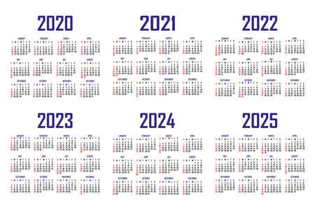 Calendar 2020, 2021, 2022, 2023, 2024, 2025. The week begins on Sunday. Simple calendar template. Portrait of vertical orientation. Annual organizer of stationery. Vector illustration Illustration