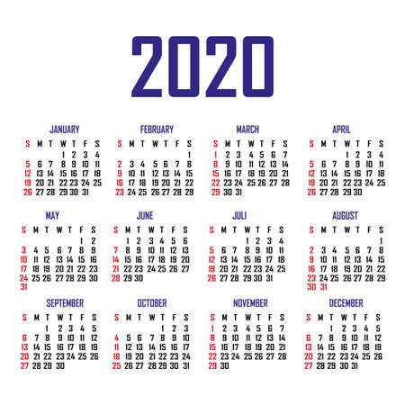 Calendar 2020. The week begins on Sunday. Simple calendar template. Portrait of vertical orientation. Annual organizer of stationery. Vector illustration