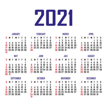 Calendar 2021. The week begins on Sunday. Simple calendar template. Portrait of vertical orientation. Annual organizer of stationery. Vector illustration Illustration