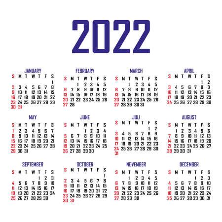Calendar 2022. The week begins on Sunday. Simple calendar template. Portrait of vertical orientation. Annual organizer of stationery. Vector illustration