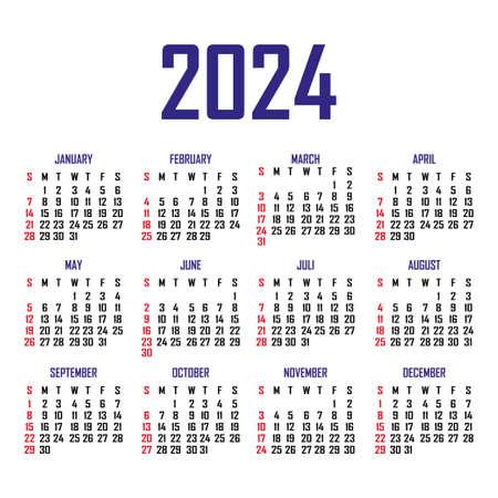 Calendar 2024. The week begins on Sunday. Simple calendar template. Portrait of vertical orientation. Annual organizer of stationery. Vector illustration