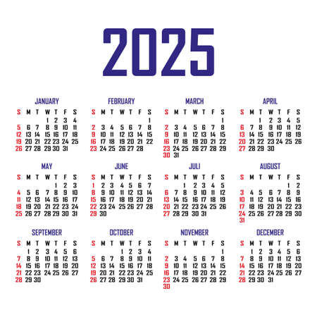 Calendar 2025. The week begins on Sunday. Simple calendar template. Portrait of vertical orientation. Annual organizer of stationery. Vector illustration