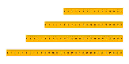 Set of yellow rulers with a black scale and numbers of different sizes. Measuring tool for artistic design. Graphic element of abstract concept. Isolated on white background. Vector illustration Illustration