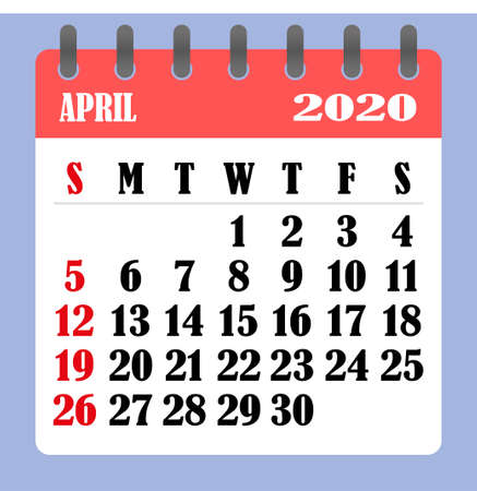 Letter calendar for April 2020. The week begins on Sunday. Time, planning and schedule concept. Flat design. Removable calendar for the month. Vector illustration
