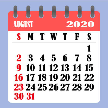 Letter calendar for August 2020. The week begins on Sunday. Time, planning and schedule concept. Flat design. Removable calendar for the month. Vector illustration Illustration