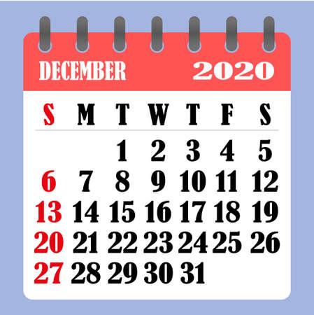 Letter calendar for December 2020. The week begins on Sunday. Time, planning and schedule concept. Flat design. Removable calendar for the month. Vector illustration Illustration
