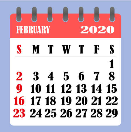 Letter calendar for February 2020. The week begins on Sunday. Time, planning and schedule concept. Flat design. Removable calendar for the month. Vector illustration