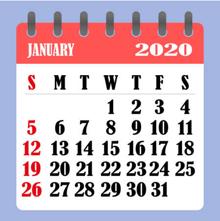 Letter calendar for January 2020. The week begins on Sunday. Time, planning and schedule concept. Flat design. Removable calendar for the month. Vector illustration