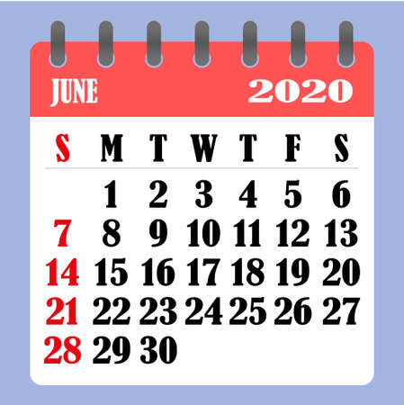 Letter calendar for June 2020. The week begins on Sunday. Time, planning and schedule concept. Flat design. Removable calendar for the month. Vector illustration