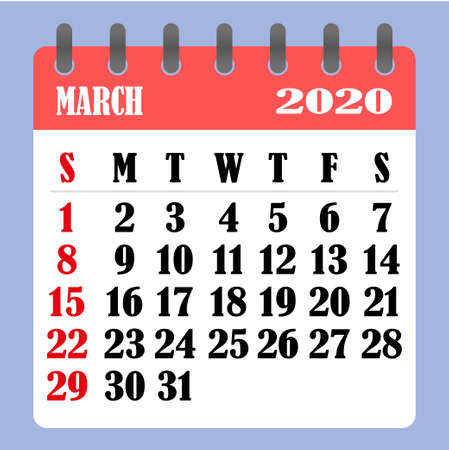 Letter calendar for March 2020. The week begins on Sunday. Time, planning and schedule concept. Flat design. Removable calendar for the month. Vector illustration