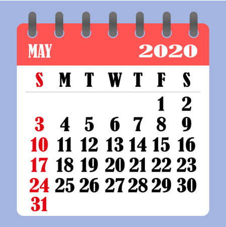 Letter calendar for May 2020. The week begins on Sunday. Time, planning and schedule concept. Flat design. Removable calendar for the month. Vector illustration