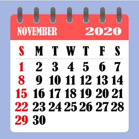 Letter calendar for November 2020. The week begins on Sunday. Time, planning and schedule concept. Flat design. Removable calendar for the month. Vector illustration Illustration