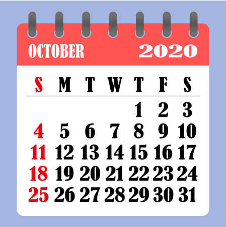 Letter calendar for October 2020. The week begins on Sunday. Time, planning and schedule concept. Flat design. Removable calendar for the month. Vector illustration