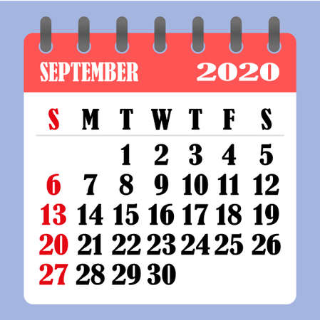 Letter calendar for September 2020. The week begins on Sunday. Time, planning and schedule concept. Flat design. Removable calendar for the month. Vector illustration