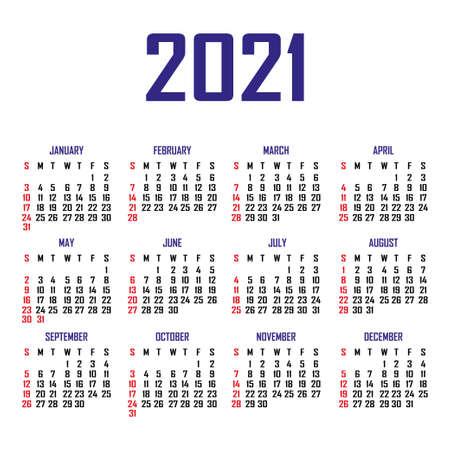 Calendar 2021. The week begins on Sunday. Simple calendar template. Portrait of vertical orientation. Annual organizer of stationery. Vector illustration Ilustración de vector