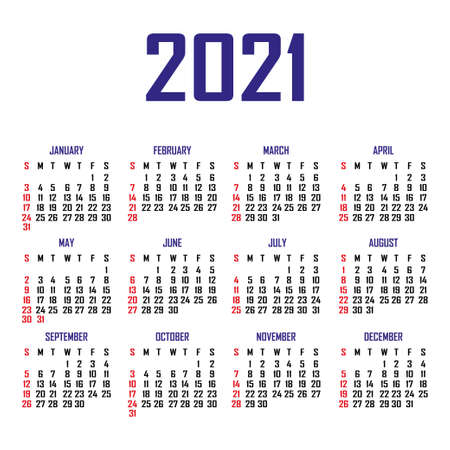 Calendar 2021. The week begins on Sunday. Simple calendar template. Portrait of vertical orientation. Annual organizer of stationery. Vector illustration Vetores