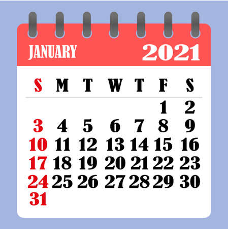 Letter calendar for January 2021. The week begins on Sunday. Time, planning and schedule concept. Flat design. Removable calendar for the month. Vector illustration