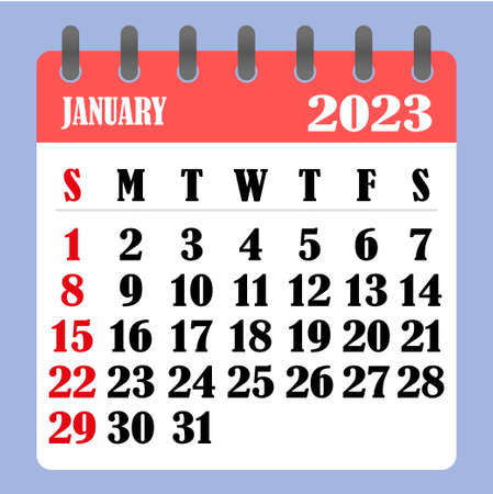 Letter calendar for January 2023. The week begins on Sunday. Time, planning and schedule concept. Flat design. Removable calendar for the month. Vector illustration Ilustrace