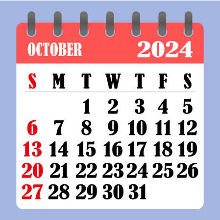 Letter calendar for October 2024. The week begins on Sunday. Time, planning and schedule concept. Flat design. Removable calendar for the month. Vector illustration