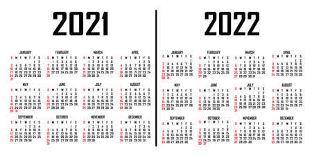 Calendar 2021-2022. The week begins on Sunday. Simple calendar template. Portrait of vertical orientation. Annual organizer of stationery. Vector illustration