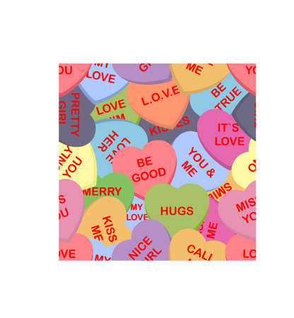 Colorful candy hearts seamless pattern background. Cute heart shaped candies with love authors. Set of sweets for conversation on Valentine's Day. Vector illustration 일러스트