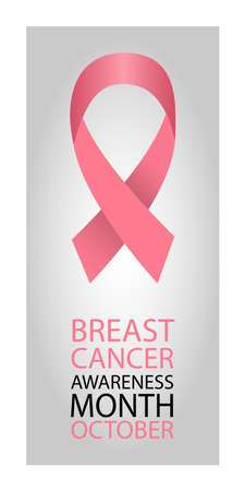 Pink ribbon informing about breast cancer. Monthly poster on breast cancer awareness. Poster design. Vector illustration.