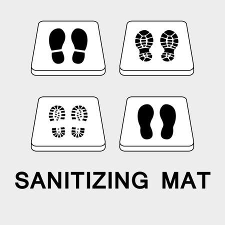 Sanitary mat. Disinfection mat icon. Disinfectant for shoes or foot baths with antiseptic solution. On a white background. The concept of coronavirus prevention, healthcare. Vector illustration