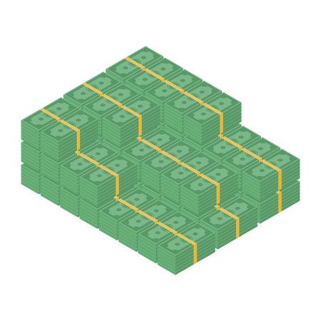 Big money concept. Big pile of cash. Hundreds of dollars. Isometry. Vector illustration