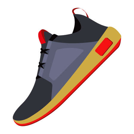 Shoes flat icon with bright colorful sneakers. Isolated on white background. Fashionable sneakers side view. Flat style. Vector illustration