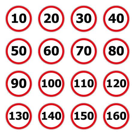 Speed limit icon isolated on white background. Symbol for speeding. Set of red road signs 10, 20, 30, 40, 50, 60, 70, 80, 90, 100, 110, 120, 130, 140, 150, 160 km h Flat style Vector illustration