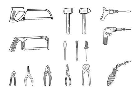 Set of hand tools, ploskogkbtsi, pliers, hammer, saw, screwdriver. Isolated on white background. Editable stroke Vector illustration