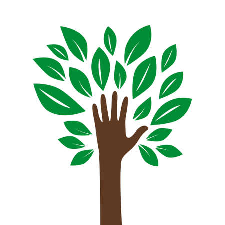 Illustration of a hand forming a tree with leaves helping nature. Dispose of, save the earth or stop the concept of global warming represented by the green sign. Isolated on white.Vector illustration