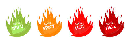 Hot red pepper strength indicator with soft, medium, sharp and infernal position. Flat style. Vector graphics