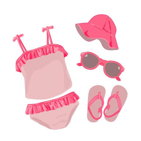 baby girl: Baby girl swimwear Illustration