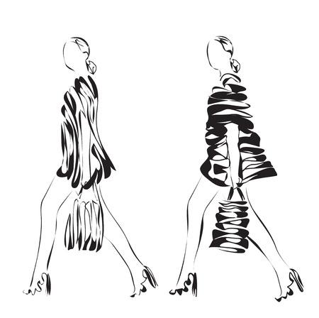 models: Fashion models. Hand drawn vector cartoon sketching.