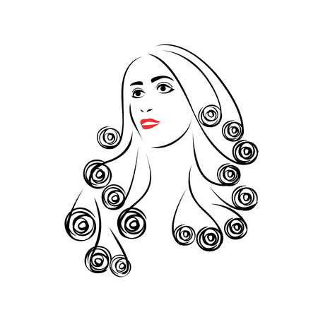 hair beauty: Beauty hair icon. Female heads with beautiful hair.