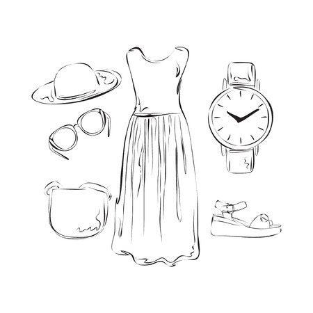 suit skirt: Hand drawn summer clothes set for woman. Illustration