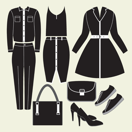 skirt suit: Hand drawn summer clothes set for woman. Illustration