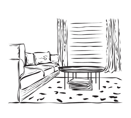 designer chair: Vector sketch design. Hand drawn living room interior .